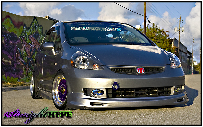 Grey Honda Fit on Purple BBS RS with Gold Hardware