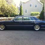 Blue Big Bodied Mercedes Benz 300SEL w126 on Gold BBS RS