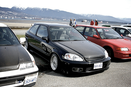 Black Honda Civic EK Hatchback on BBS RM