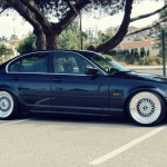 "Black BMW E46 Sedan on 18"" Resized BBS RS"