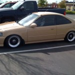 Beige Honda Civic EK Coupe on Black BBS RS