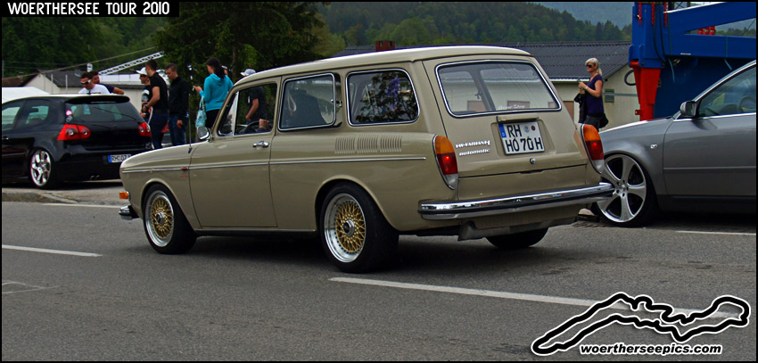 Beige Volkswagen Squareback on Gold BBS RS