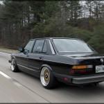Black BMW 535i E28 on Gold BBS RS