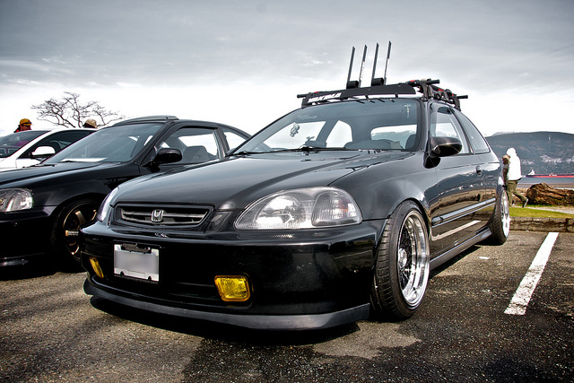 Black Honda Civic EK Hatchback on Black BBS RS