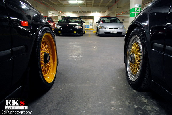 Black Honda Civic EK Hatchback Yellow BBS RS