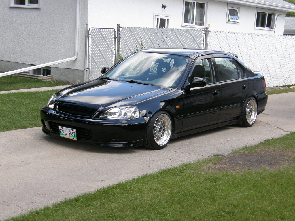 Black Honda Civic EK Sedan on BBS RM with Gold Hardware