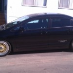 "Black Honda Civic Si Sedan on 17"" Gold BBS RS"