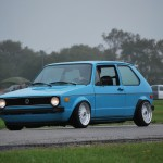 Blue Volkswagen Rabbit on White BBS RS