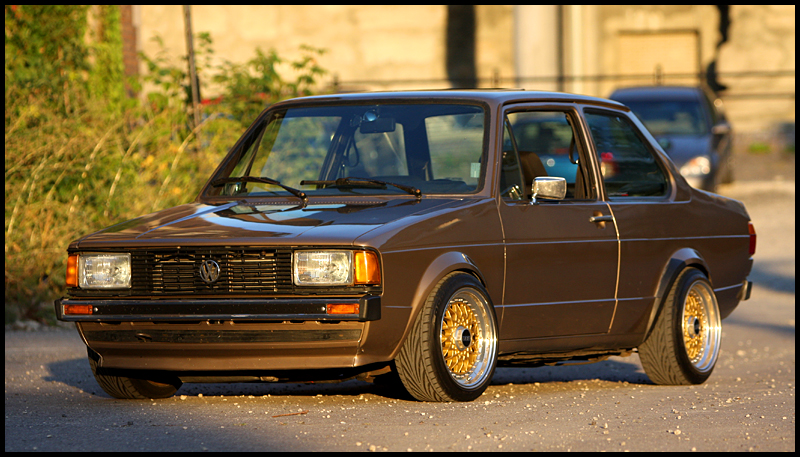 Brown Volkswagen Jetta Coupe Gold BBS RS