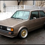 Brown Volkswagen Jetta Coupe on Gold BBS RS
