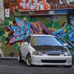 "Championship White Honda Civic EK Hatchback on 16"" Gold BBS RS"