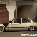 Gold BMW E21 Slammed on Gold BBS RS