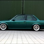 Green BMW E30 on BBS RS with Red Logos