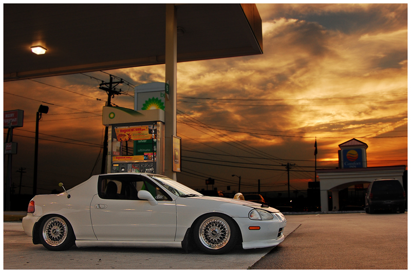 White Honda Del Sol on BBS RS