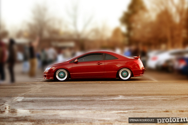 "Red Honda Civic Si Coupe FG2 on 17"" Blue BBS RS"