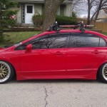 "Red Honda Civic Si Sedan on 18"" Gold BBS LM"