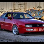 "Red Volkswagen Corrado on 16"" BBS RS with Red Logos"