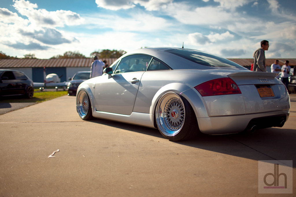 "Silver Audi TT on 18"" BBS RS with Red Logos"