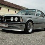 Silver E21 BMW 323i Baur Convertible on Polished BBS RS