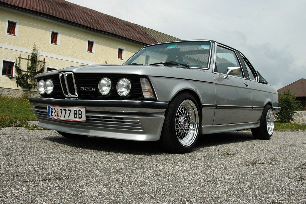 Silver E21 BMW 323i Baur Convertible on Polished BBS RS with Black Windows