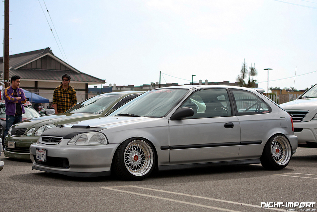 Silver Honda Civic EK Hatchback on BBS RS with Red Logos