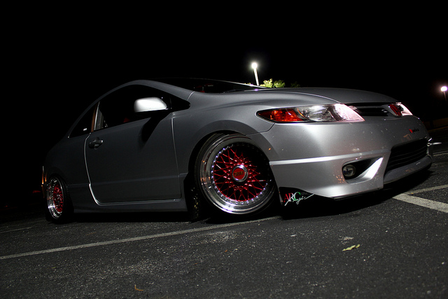 Silver Honda Civic Si Coupe Fg2 On Candy Red Faced Bbs Rs
