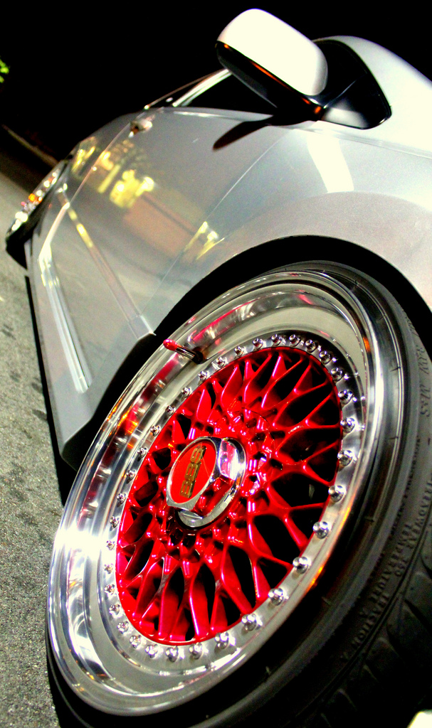 Silver Honda Civic Si Coupe FG2 on Candy Red Faced BBS RS ...