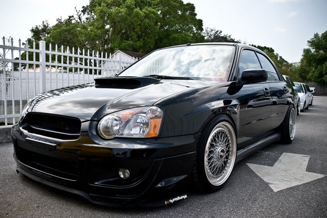 Black Subaru Impreza on BBS RS