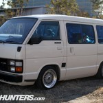 White Toyota Hiace Van on BBS RS in Japan