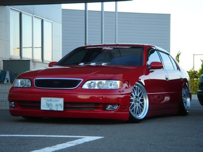 Red Toyota Aristo Lexus GS300 on BBS LM VIP Style