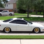 White Acura Integra DC on Yellow BBS RS