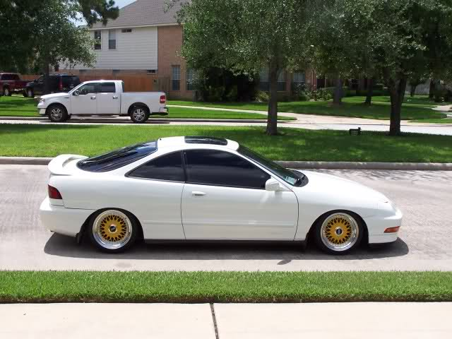 White Acura Integra DC Hatchback on Yellow BBS RS