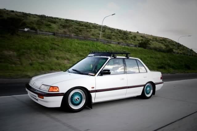 White Honda Civic EF Sedan on Blue BBS RS