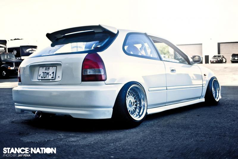 White Honda Civic EK Hatchback on BBS RS