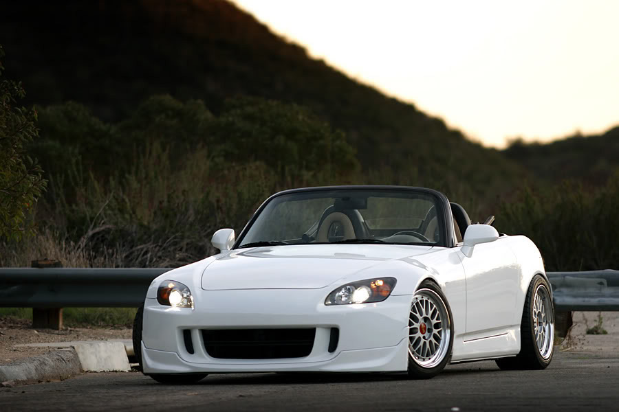 White Honda S2000 AP2 on BBS LM with Red Caps