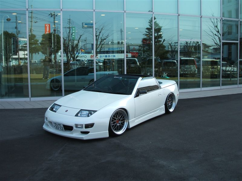 White Nissan 300ZX Convertible Z32 on Diamond Black BBS LM