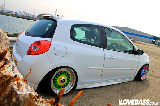 White Renault Clio on Different Colored BBS RS
