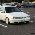 White Volkswagen Golf MK4 on All White BBS RS