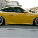 Yellow Porsche 911 996 on BBS LM