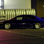 "Blue Honda Civic Sedan on 17"" White BBS RS"