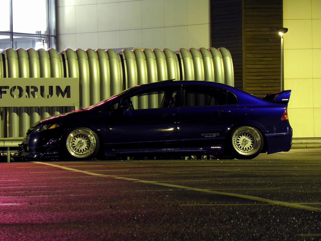 "Blue Honda Civic Sedan on 17"" White BBS RS"