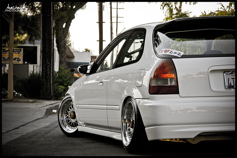 White Honda Civic EK Hatchback On BBS RM