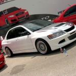 White Mitsubishi Lancer Evolution on BBS RS