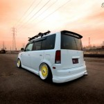 White Scion XB ON Yellow BBS RS