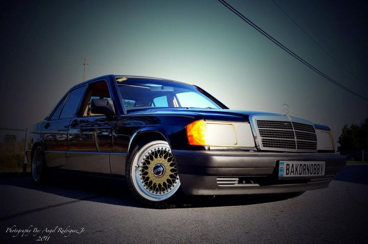 "Black Mercedes Benz 190e 2.3 W201 on 16"" Gold BBS RS"
