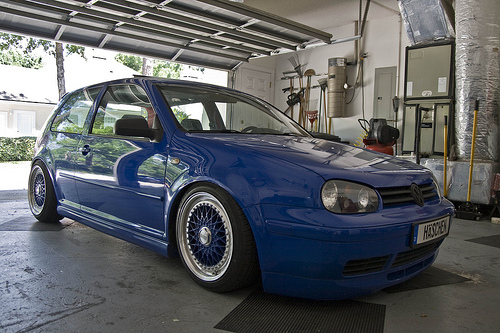 Blue Volkswagen Golf MK4 on Blue BBS RS