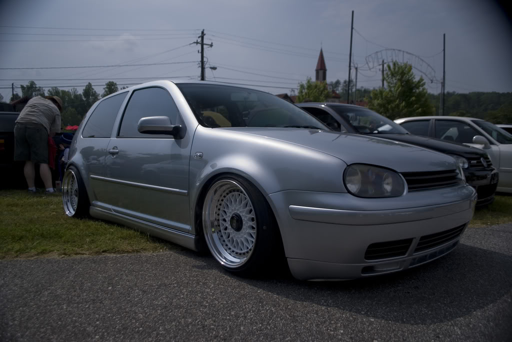 Silver Volkswagen Golf MK4 on White and Black BBS RS