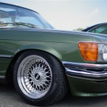 "Green Mercedes Benz w116 on 16"" BBS RS"
