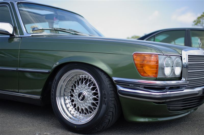 "Green Mercedes Benz w115 on 16"" BBS RS"