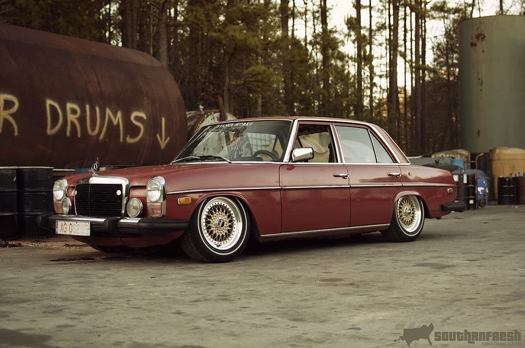 "Mercedes Benz 240D w115 on 15"" Gold BBS RS"